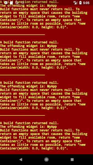A build function returned null